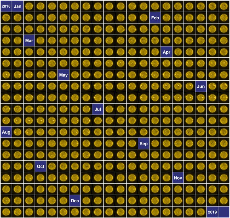 Checkerboard of 365 yellow circles.