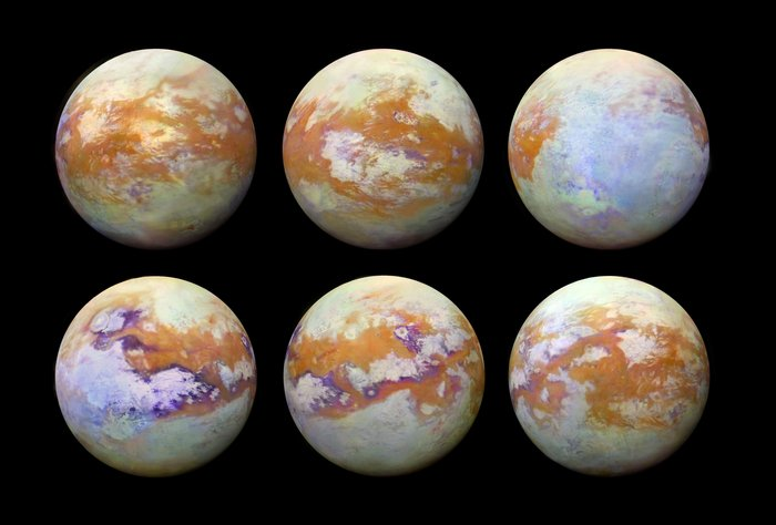 6 orange-and-white marbled circles against a black background.