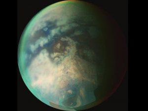 "Titan's ""wet sidewalk"" region near the north pole."