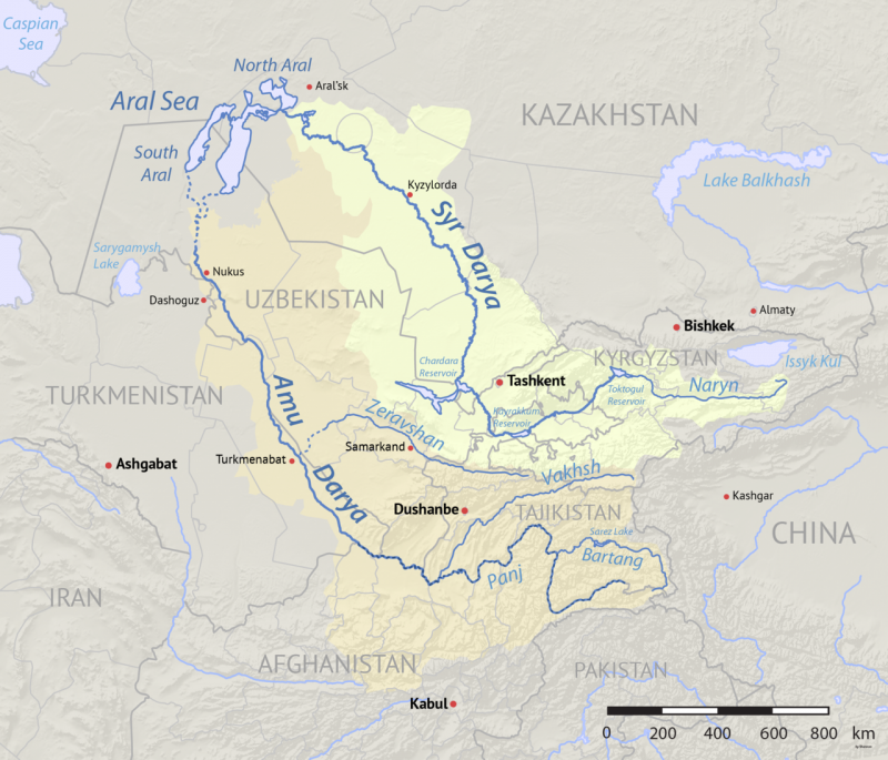Two rivers running northwest from the Himalayas to the Aral Sea