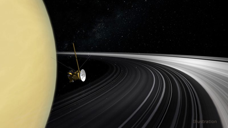 Yellow half circle, the planet, on black background with white rings and a spacecraft nearing the rings.