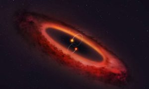 Edge-on view of planet-forming disk around double star.