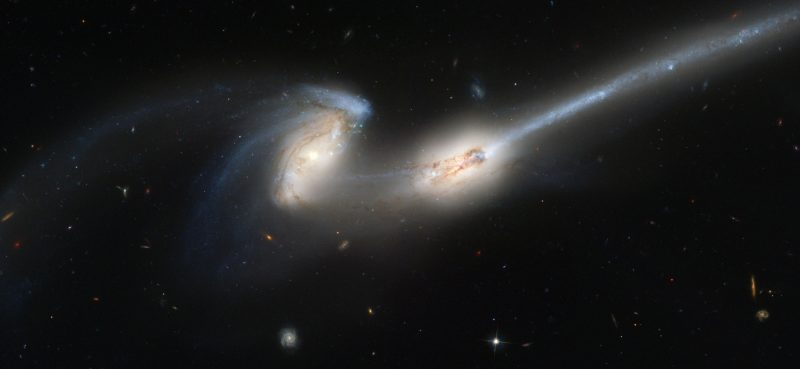 Merging galaxies. Both appear to have long tails, which is why these 2 galaxies are nicknamed The Mice.