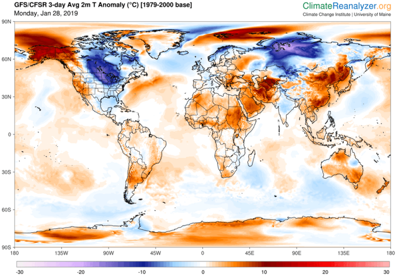 Global map, mostly orange, but large blue spots in North America and Siberia.