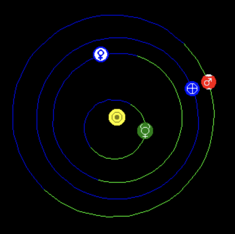 Large heliocentric chart showing planetary orbits with positions of planets October 13, 2020.
