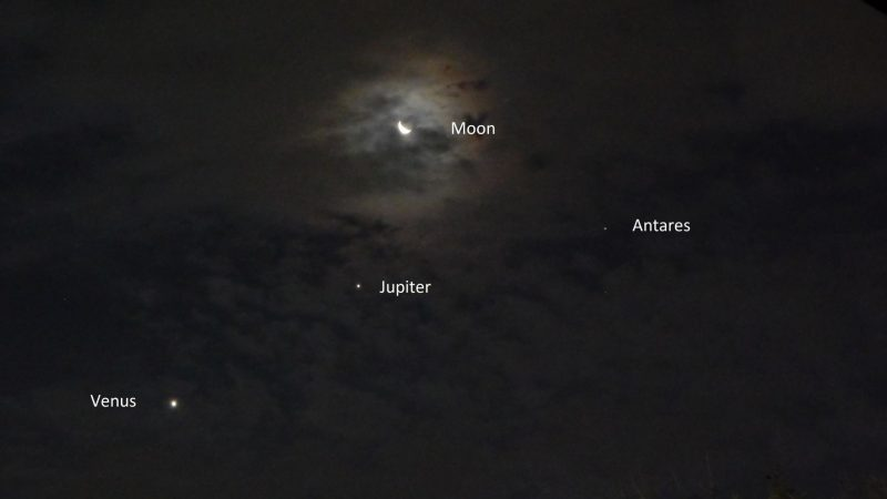 Three bright dots and crescent moon.