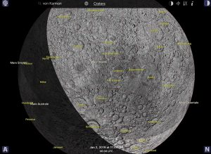 A simulated image of the far side of the moon - showing the line of sunrise across the moon's face - on the night Chang'e-4 set down.