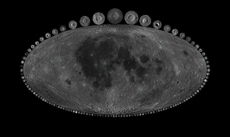 oblong gray image of the moon, surrounded by dozens of small gray moon images.