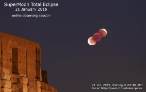 Coppery red eclipsed moon over Rome