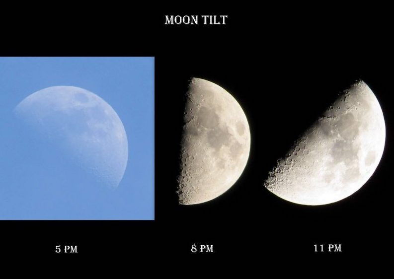 3 images: Half moon angled up, half moon vertical, half moon angled down.