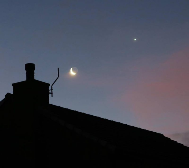 The moon Venus rising over Whitehaven NW England on January 2, 2019. Photo by Adrian Strand.