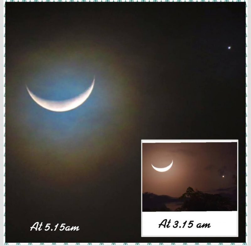 2 images of Venus at the moon from North Borneo, one taken at 3:15 a.am. and the other 2 hours later.