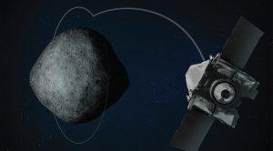 Artist's concept showing OSIRIS-REx spacecraft lassoing asteroid Bennu