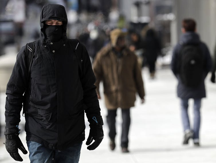 People in big hooded coats and gloves