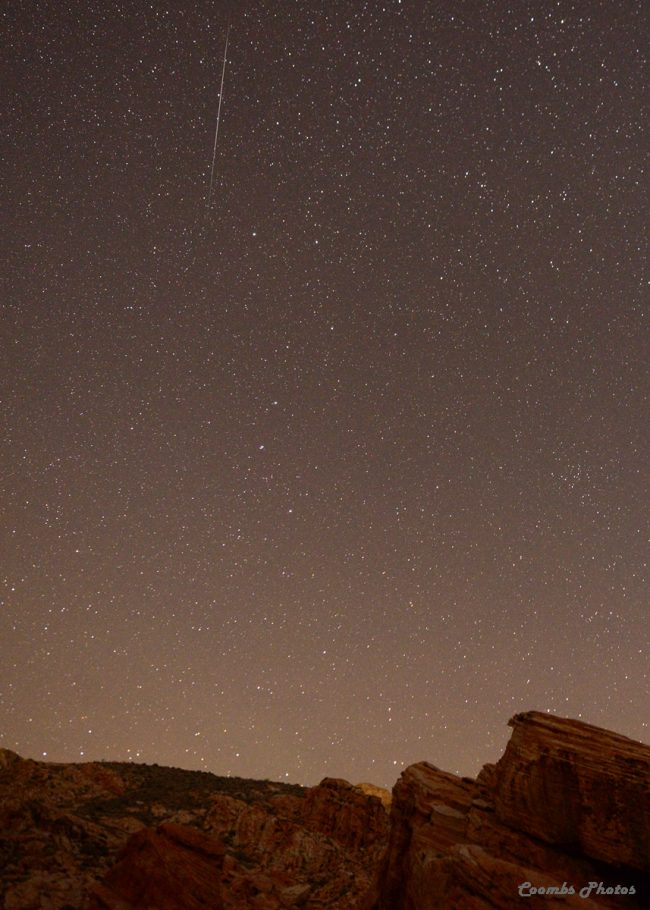 Quadrantid meteor streaking from high in the north