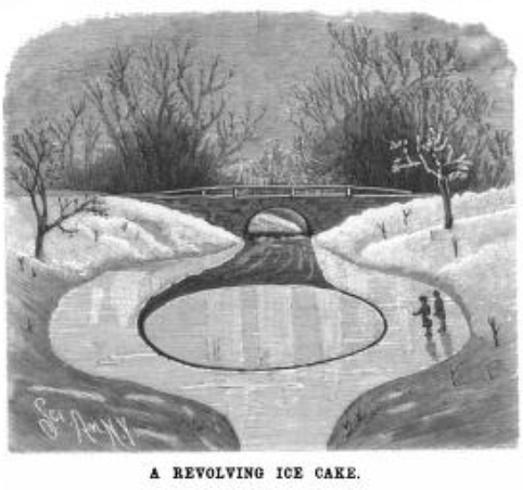 Old-fashioned drawing of creek scene, small bridge in background, ice disk. Two people looking at it.