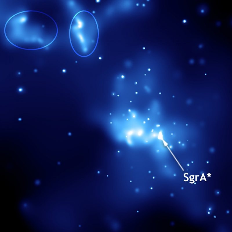 Blue background with bright white stars and gas clouds, with Sagittarius A-star marked.