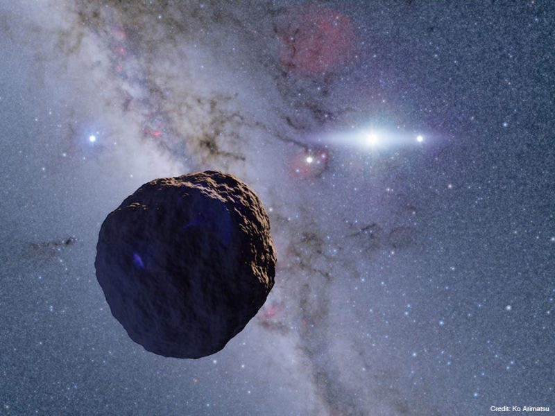 A round space rock in the foreground, a distant sun in the background.