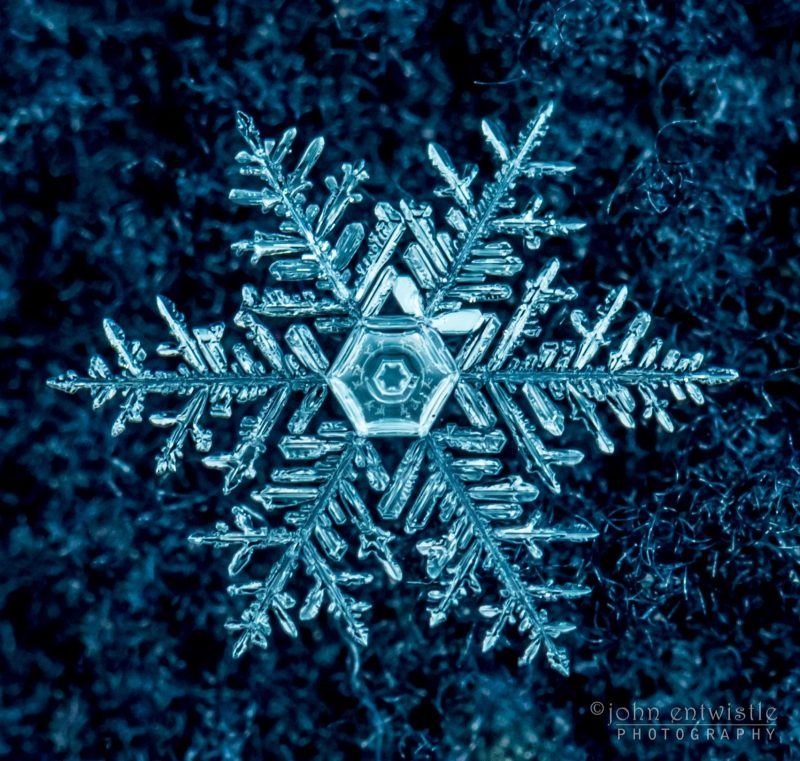 Large, star-shaped snowflake on blue background.