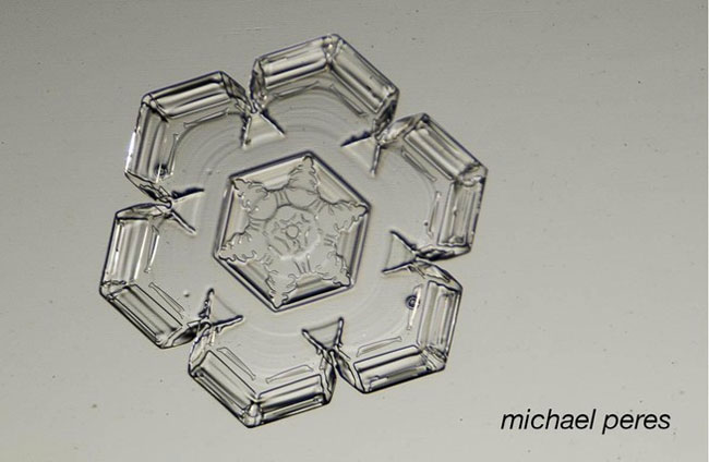 Hexagonal plate with hexagonal arms on each side.