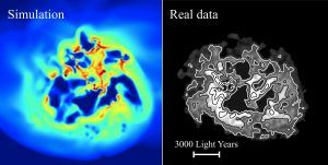 The left image shows the hydrogen gas density of a simulated dwarf galaxy, viewed from above. The right image shows the same for a real dwarf galaxy, IC 1613. In the simulation, repeated gas inflow and outflow causes the gravitational field strength at the center of the dwarf to fluctuate. The dark matter responds to this by migrating out from the center of the galaxy, an effect known as 'dark matter heating'.