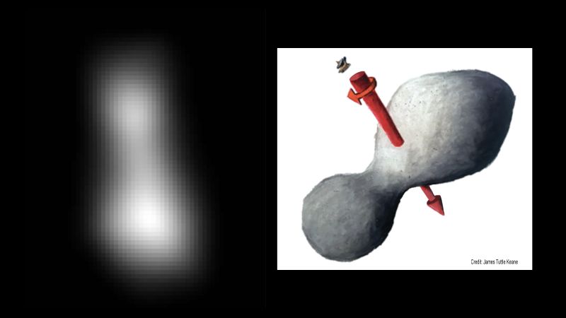 Best image of Ultima Thule so far, a composite taken by New Horizons' Long-Range Reconnaissance Imager, aka LORRI.