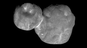 Ultima Thule looks like 2 snowballs stuck together. It is pockmarked with craters.