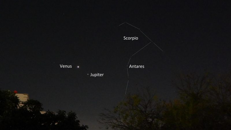 Bright dots of planets, with an outline drawn to show the constellation Scorpius.