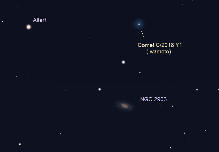 Star chart showing comet and small fuzzy oval galaxy.