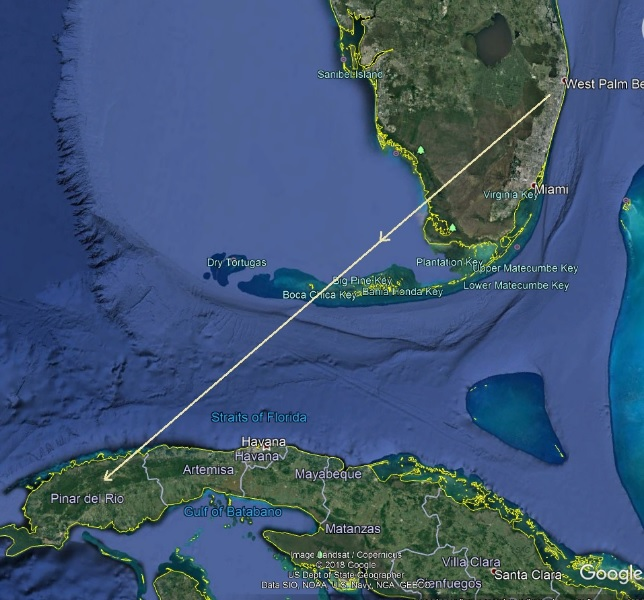 Florida To Cuba Map.Small Asteroid Disintegrates Over Cuba In Daylight Space Earthsky