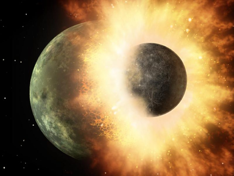 Smaller planet crashing into bigger planet with debris flying out.