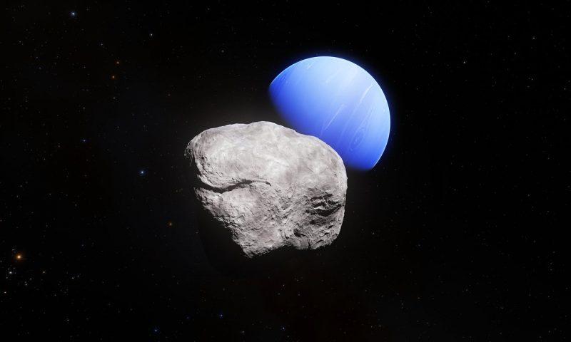 Featureless blue planet Neptune and irregular rock in orbit.