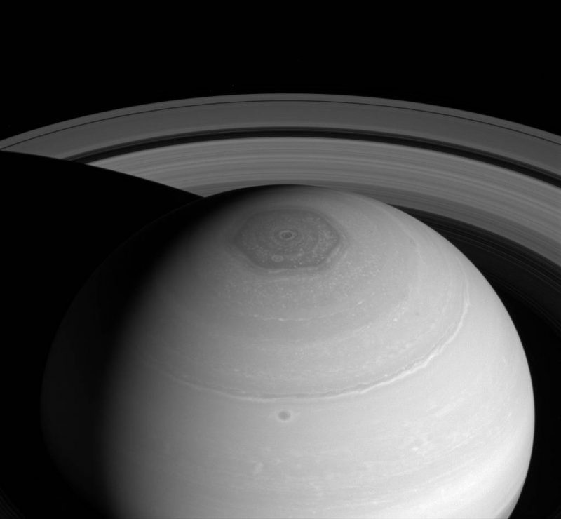 Top view of Saturns with hexagon cloud formation at Saturn's north pole.