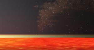 Orange across lower third of image, a thin greenish line, dark starry sky above.