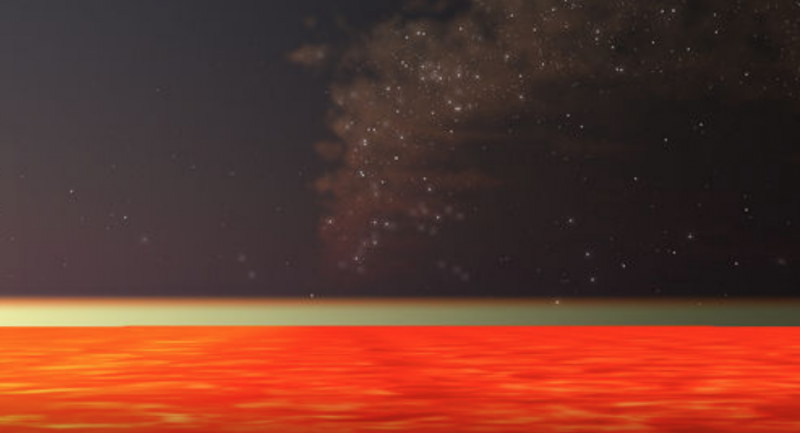Orange across lower third of image, a thin greenish line, dark starry sky above.