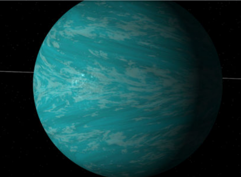 Aqua ball with white clouds streaks against a black background.