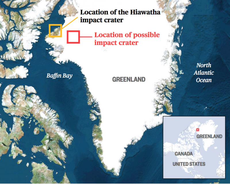 map of Greenland with small rectangles outlines the sites of the 2 impact craters.