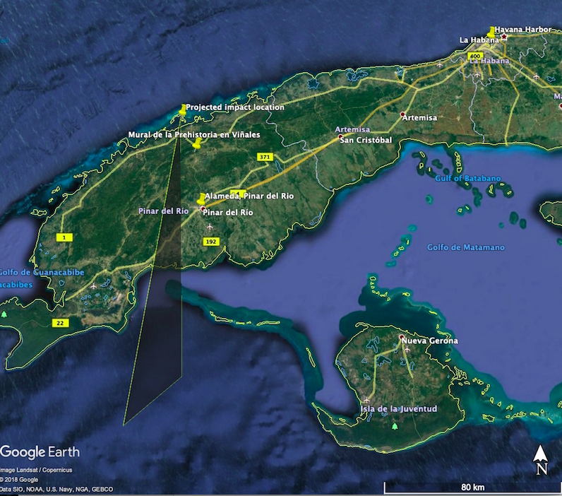 Satellite view of one end of Cuba with path of meteor indicated.