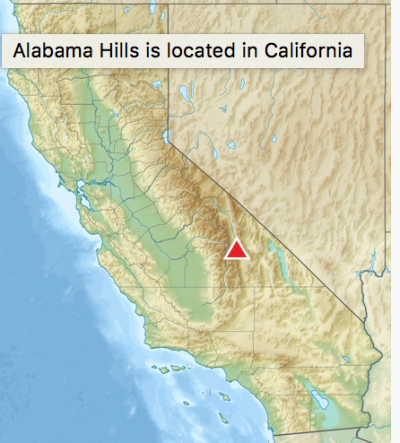 Map of California with location of Alabama Hills identified.