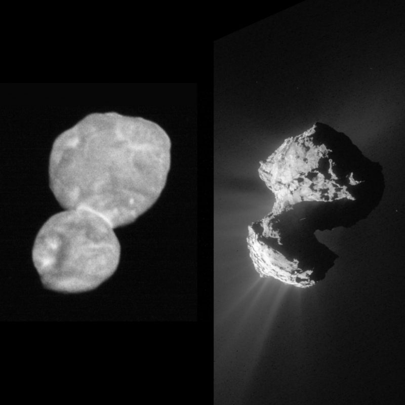 Ultima Thule on left, Comet 67/P on right shown same size.