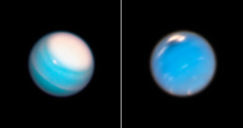 Clouds and storms on Uranus and Neptune seen by Hubble.