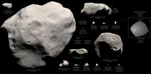 Space rocks - aka asteroids - of various sizes and shapes.