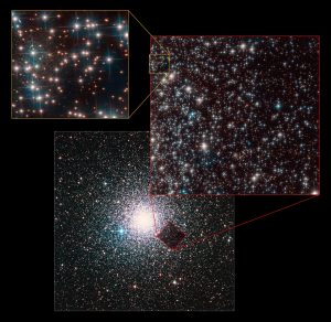 A spherical globular cluster, with several insets showing the more-distant galaxy's location behind it.