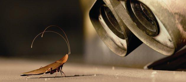 Robot's close-up eyes looking at a cute cartoon roach.