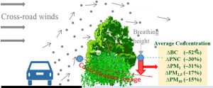 Graphical illustration of hedges and trees removing air pollutants from vehicles.