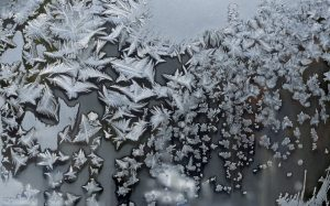 White crystals on a dark gray background.