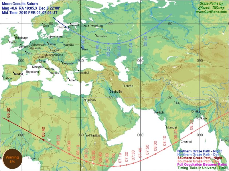 Map of Europe, the Middle East, and part of Africa with lines showing zone of occultation.