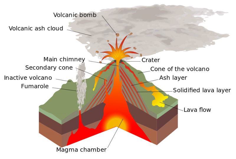 Cutaway of volcano with many volcanic features including magma chamber.