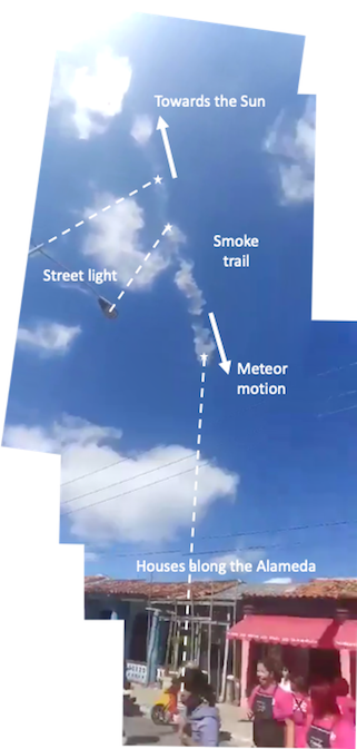 Street light, cloud trail, houses. Arrow pointing in direction of meteor path.