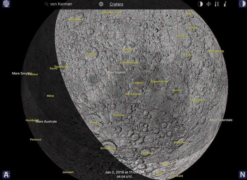 Lunar far side and location of Von Kármán crater.